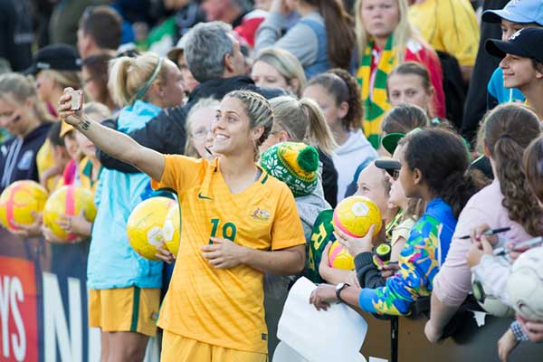 Matildas player taking selfie of herself and crowd