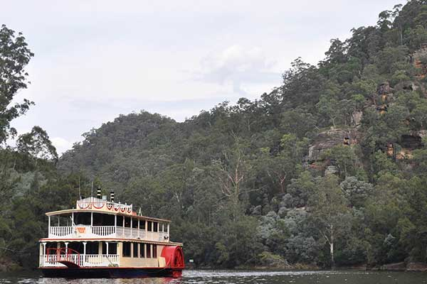 The Nepean Belle cruising on the Nepean River