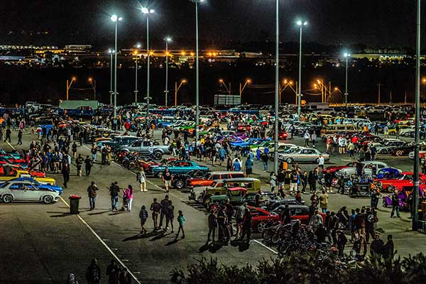 Aerial image of car show