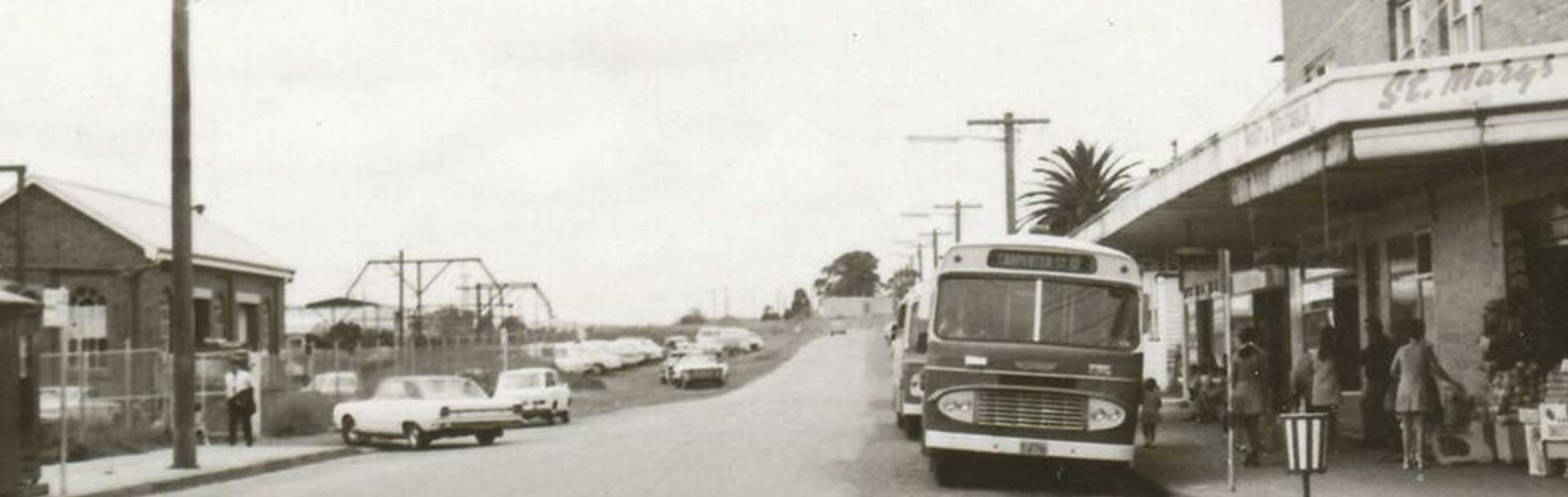 Historical image of bus in St Marys