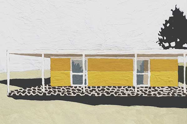 Artwork of House with yellow walls and white roof