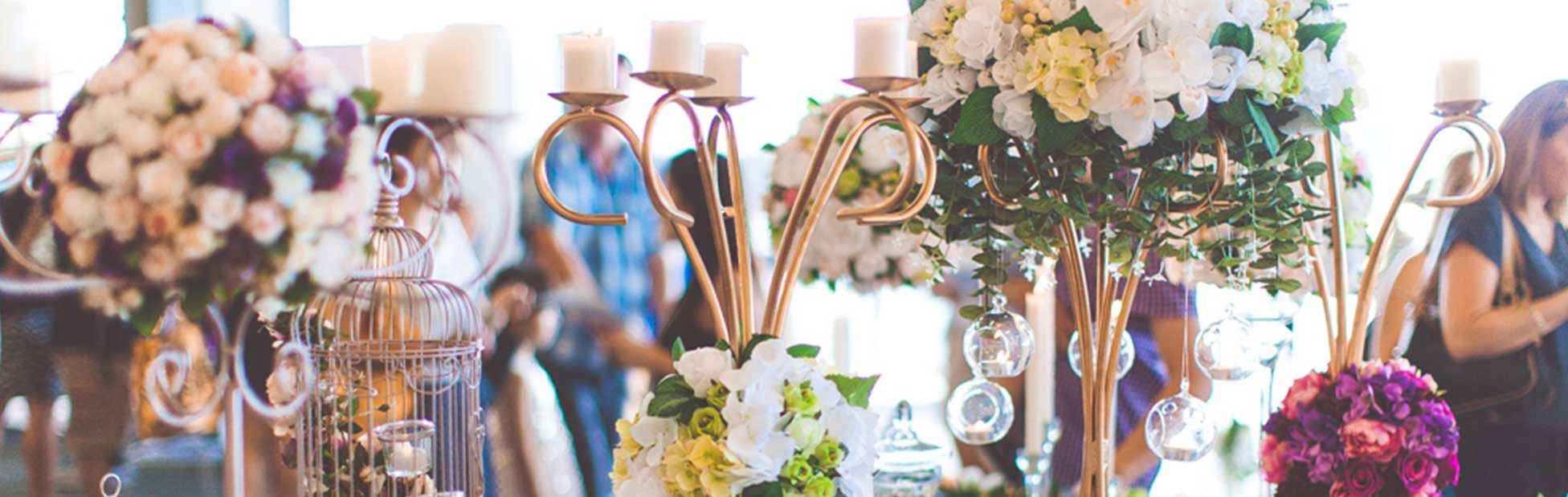 Table filled with wedding decoration examples