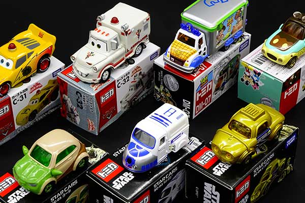 Collectable cars displayed on boxes