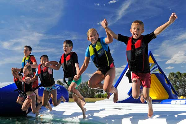 Kids on the aqua park