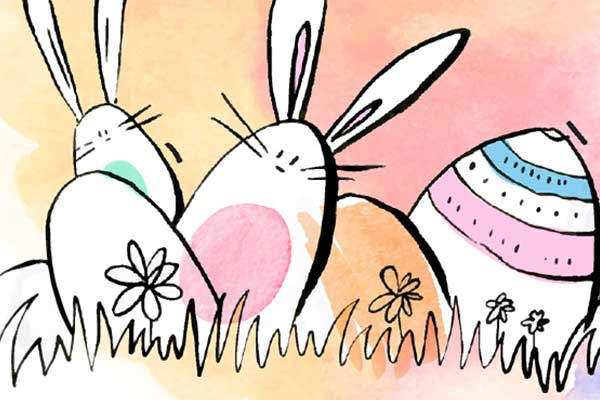 Cartoon of Easter bunnies and eggs