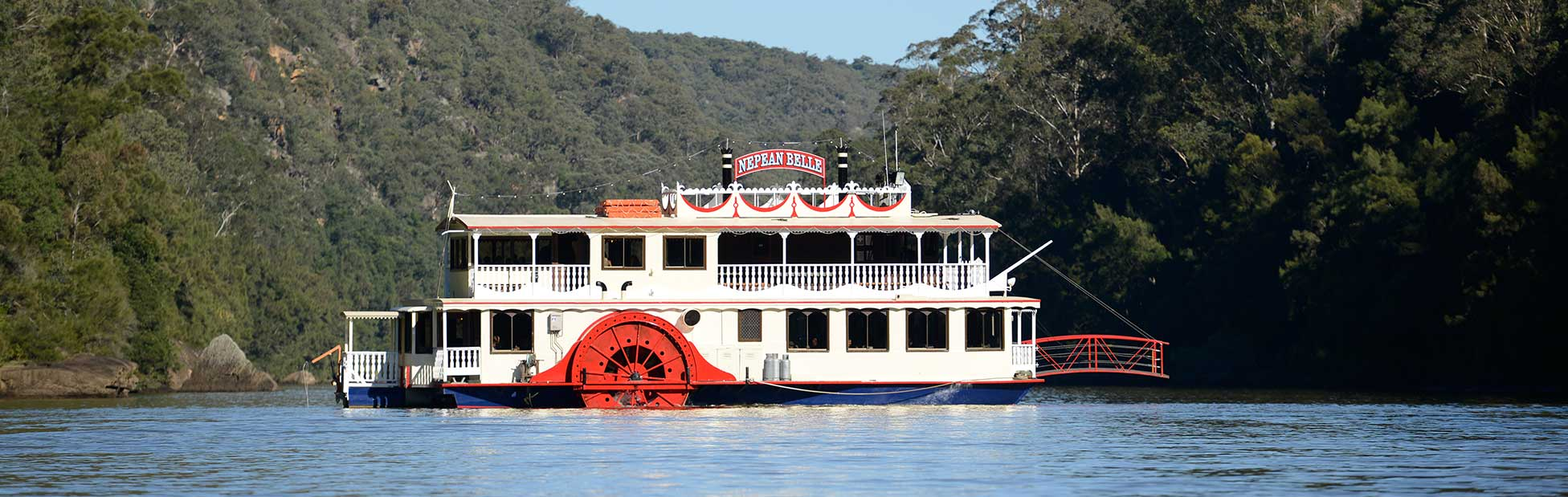 Nepean Belle paddlewheeler side on in Nepean River