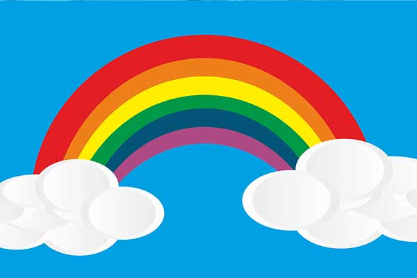 cartoon rainbow and clouds
