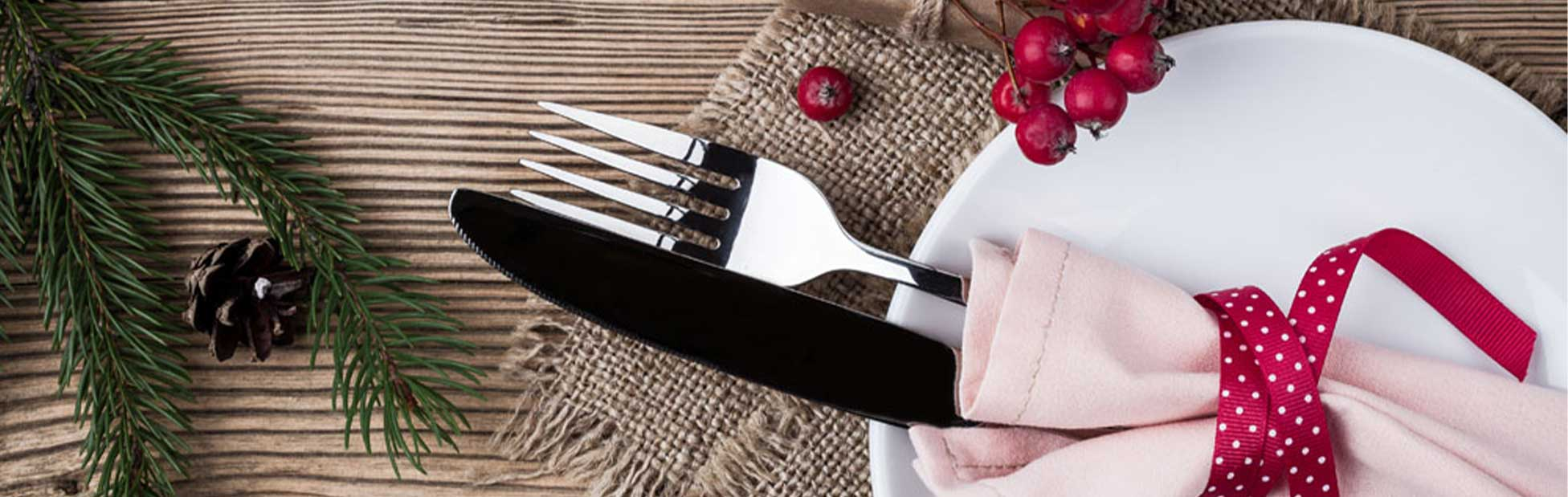 Christmas styled table and cutlery