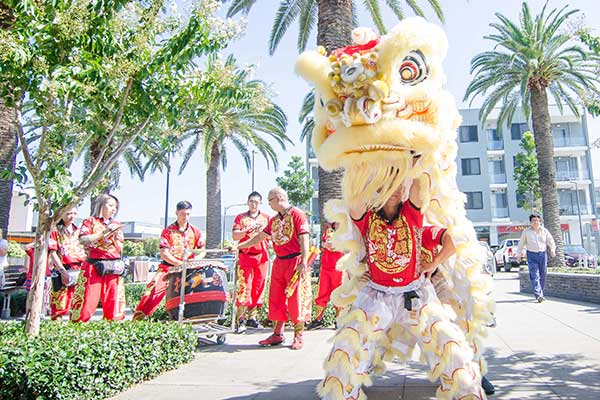 Chinese dragon and drummers at Jordan Springs