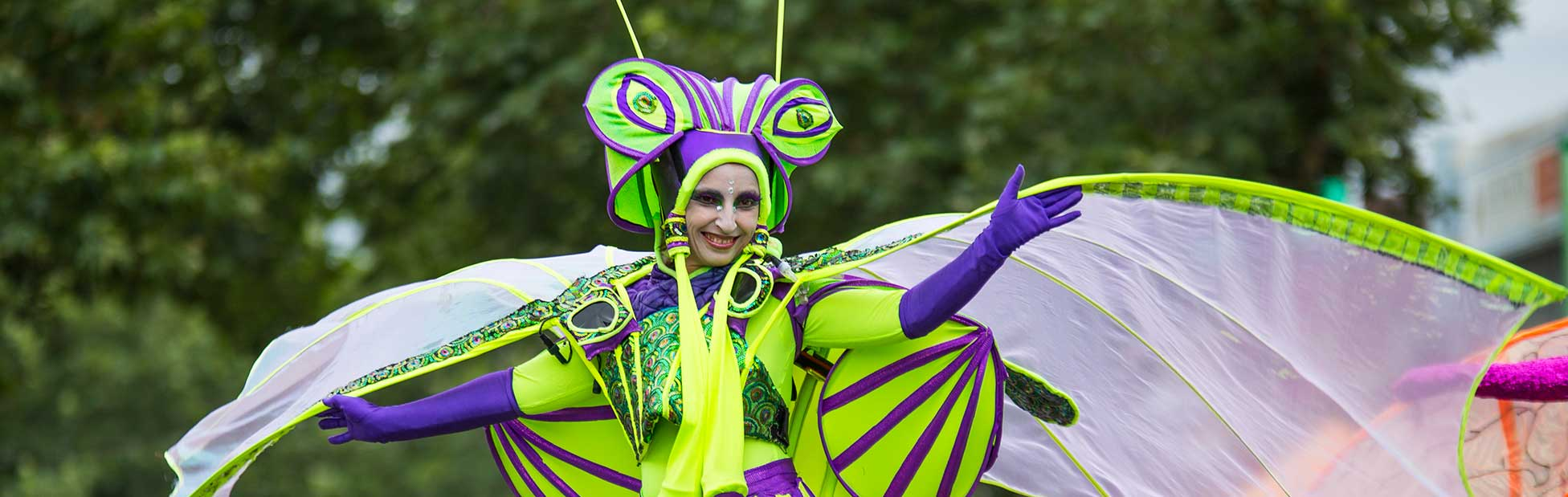 street performer walking through crowd dressed like dragonfly