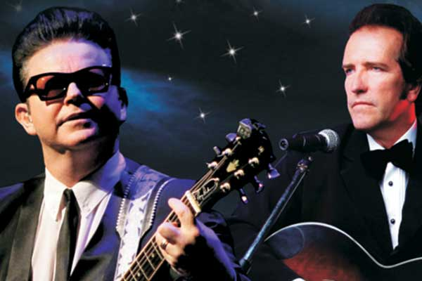 Tribute artists dressed as Roy Orbison and Johnny Cash