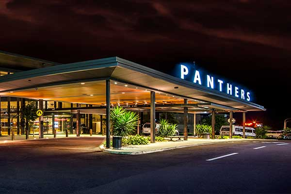 Panthers entrance at night