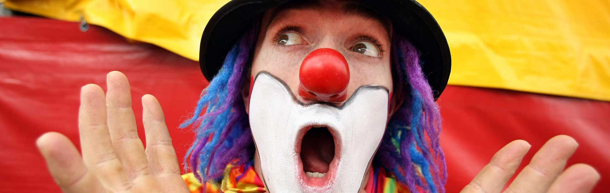 Clown pulling a silly face