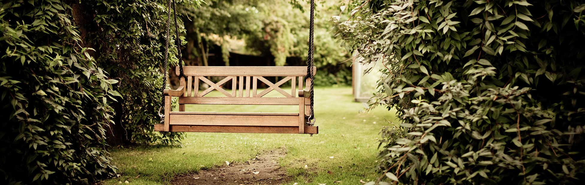 inviting wooden park bench in garden