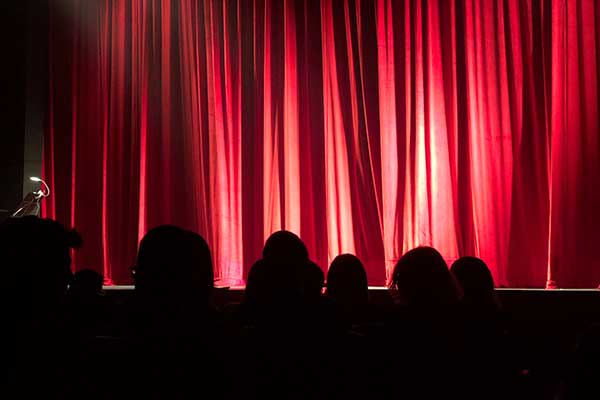 red curtain at theatre