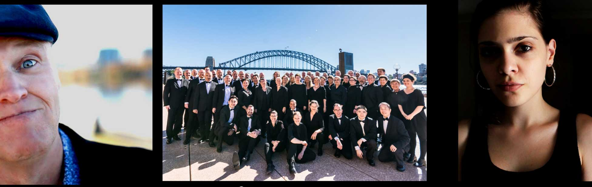 Choir posing for photo in front of Sydney Harbour Bridge