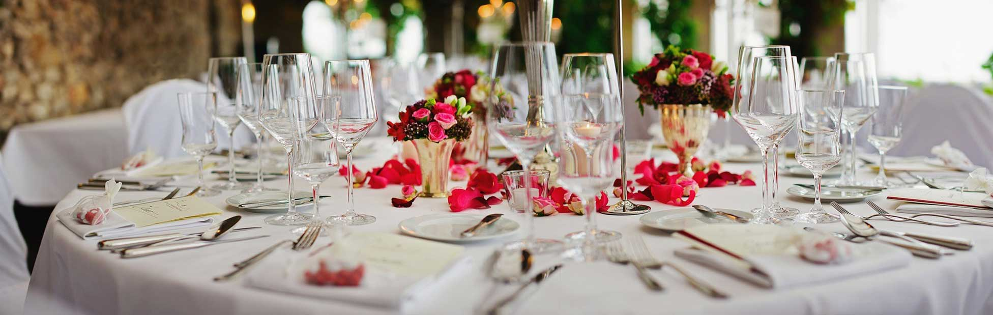 Wedding table set and decorated