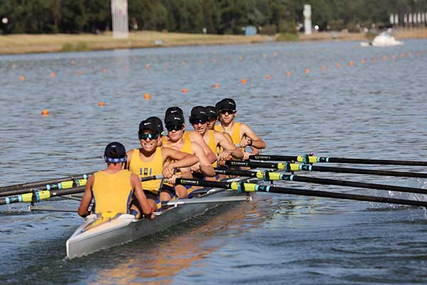 Male rowers on water at SIRC