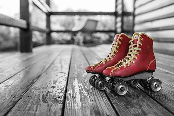 Image of a red pair of roller skates