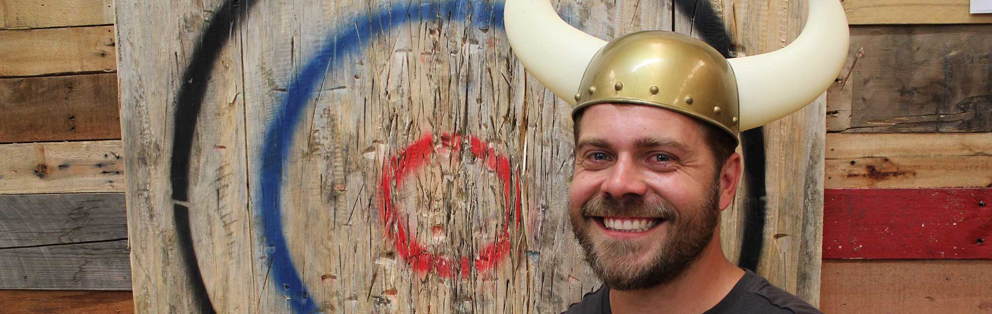 Image of a man in a Viking hat