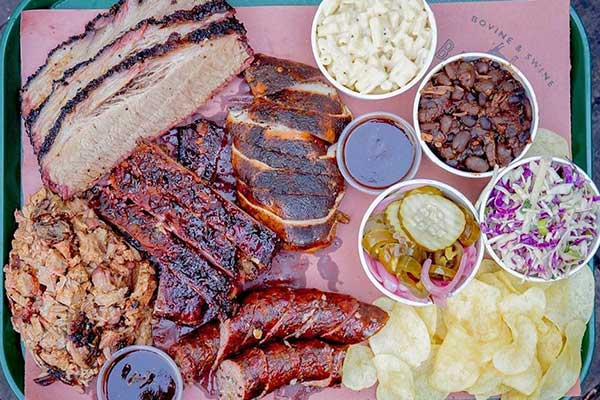 Tray of Barbeque meats and sides