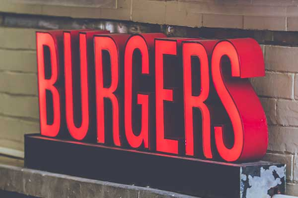 Red burger sign