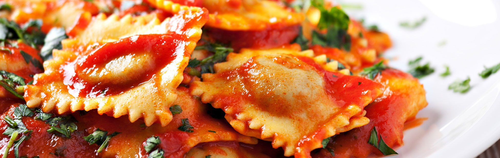 Ravioli served with napoletana sauce