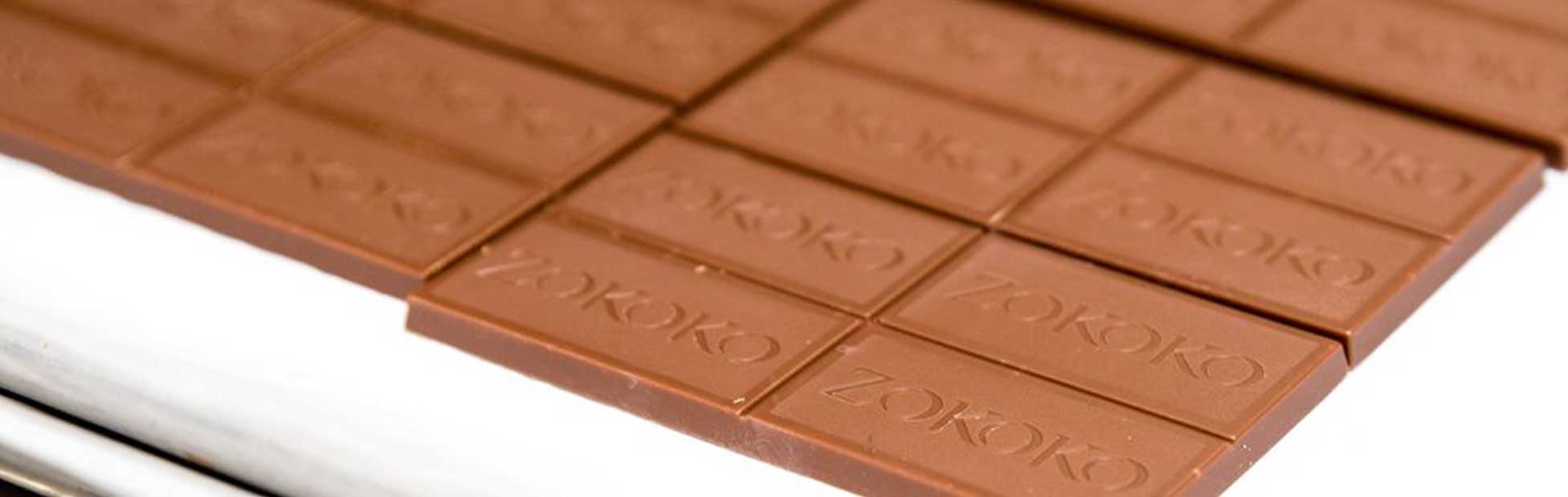 Squares of chocolate stamped ZOKOKO
