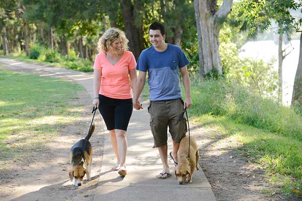 Young couple walking their dogs along the Great Nepean River Walk footpath